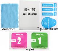 adesivos limpos da tela venda por atacado-Roupas de limpeza Molhado e Seco 2 em 1 de Wipes Dust-Absorber Guia Guia para Celular LCD Protetor de Tela de Vidro Temperado de Álcool de Limpeza
