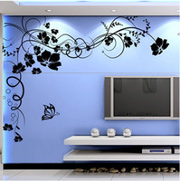 Ome Decor Wall Stickers Elegant Beautiful Flower Vine Big Wall Sticker Tv Sofa Background Decoração de casa Pintura Butterfly Fashion DIY Water ...