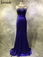 Lewande Trumpet / Mermaid Scoop Neck Satin Sweep Train with Pearl Detailing Purple Prom Dresses Длинные Открытые Платья