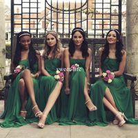 Wholesale Tiered Ruffle Bridesmaid Chiffon - Dark Green Custom Made Split 2017 A line Bridesmaid Dresses Strapless sleeveless Zipper Empire Chiffon Tiered Skirts Floor-length Gowns