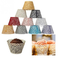 Atacado - 7Colors 50PCS Little Vine Lace Cut Cupcake Wrapper Liner Baking Cup Bolo de papel oco Cup DIY Baking Fondant Cupcake