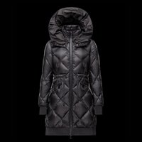 Wholesale Waist Belt Down Jacket Women - 2016 New Women coat Open mouth hood Winter long parka Black down jacket Skirt lady Light overcoat Waist belt
