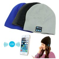 Wholesale plain black hats resale online - 2017 New Chirstmas gift Bluetooth Music Hat Soft Warm Beanie Cap with Stereo Headphone Headset Speaker Wireless Microphone DHL free