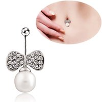 Wholesale 14 Belly Ring - 5pcs Belly Button Ring 316L Surgical Steel 14 Guage Navel Belly Button Ring Bar - Pink Rhinestone Bow Knot with Pearl Chain Pendant Style