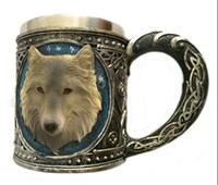Wholesale Special Coffee Cup - 401-500ml Fashion Drinkware Coffee Tea Cup Wolf Head Pattern Special Day Pratical Home Bar Decoration Stainless Steel Mugs
