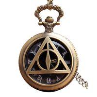Wholesale Harry Necklace - Harry Potter Deathly Hallows Pocket Watch Necklace Vintage Steampunk Men Pocket Watches Pendant Quartz Fob Watch Chain Clock