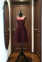 Wholesale New Fall Dresses - 2017 Fall New Spaghetti Halter Short Evening Dress, Bridesmaid Dress With Elegant Burgundy Lace And Tulle