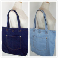 Wholesale Botton Cell - New Vintage Casual open Pocket botton Jean Denim Women Bags Purse Lady's HandBags Shoulder Tote purse Bag Summer bolsa feminina