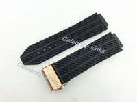 Wholesale Bracelets Grain - 25mm x 19mm(Watch lug) NEW Rose Gold Deployment Clasp Black Litchi grain Diving Silicone Rubber Watch BAND Strap G-HUB01RMA