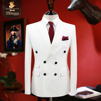 Wholesale wedding boys clothing - Wholesale- brand clothing slim fit men suits white tuxedo coat pant vest double breasted groom wedding suits for men formal boy prom suits