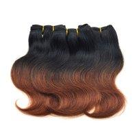 ombre brown короткие волосы оптовых-Класс 7а девственные бразильские волосы тела волна 6 шт. много короткие человеческие волосы ткет T1b / 33# темно-каштановый коричневый бразильский ломбер наращивание волос