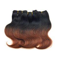 Wholesale 33 Body Wave - Grade 7a Virgin Brazilian Hair Body Wave 6 Pcs Lot Short Human Hair Weaves T1B 33# Dark Auburn Brown Brazilian Ombre Hair Extensions