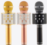 Wholesale Tablet Computer Cell Phone - WS-858 Wireless Microphone handheld loudspeaker Portable Karaoke Hifi Bluetooth speaker Player For iphone 6 6s 7 5S ipad Samsung Tablets PC