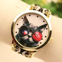 Wholesale Ladies Watches Wrap Around - 2016 Hot Colorful Cat Design Braided Color Rope Watch Fashion Ladies Wrap Around Dress Watch Quartz Wristwatch For Women 5 Colors