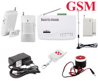 Wholesale Wireless Gsm House Alarm - Wireless Home Office House Security Burglar GSM Alarm System Auto Dialer SMS SIM Call EU US Plug Power Free Shipping