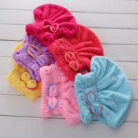 tekstil renkleri toptan satış-Ev Tekstili Mikrofiber Katı Saç Türban Hızlı Kuru Saç Şapka Sarılmış Havlu 6 Renkler Mevcut Ince elyaf kumaşlar WA0637
