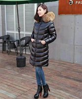 Hot Sale Large Raccoon Fur Collar Mulheres Down Parka Black Long Style Slim Feather Dress M Brand Warm Winter Down Coat Jacket