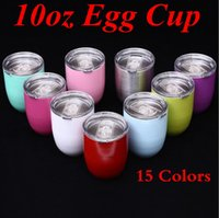 Wholesale Double Layer Glass Lid - 10oz Egg Cup Stemless Cups 15 Colors Stainless Steel Double Layer Wine Glasses Beer Mugs Sports Vacuum Cocktail Drinkware With Lid OOA2892