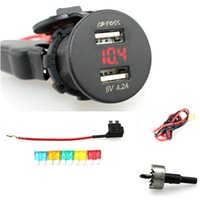 Wholesale Marine Supplies - Wholesale- IZTOSS 2.1A & 2.1A Waterproof Car Motorcycle Boat Marine ATV RV Dual USB Charger r Power Supply Socket with Voltmeter