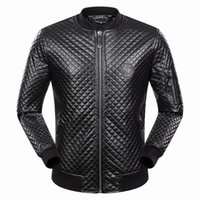 Wholesale New Cotton Coat Fur Collar - New Men Argyle Leather Coats Slim Casual Cardigan Jacket Motorcycle Outerwear Long Sleeve Coat Men's Clothing