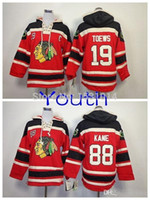 Wholesale Unisex Kids Hoodie - 2016 New, Youth Wholesale Chicago Blackhawks Old Time Hockey Hoodie Kids #19 Janathan Toews #88 Patrick Kane Heavyweight Stitched Hood