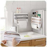 ingrosso portasciugamani da cucina-ABS Kaki Grigio Bianco Cucina Cling Film Sauce Bottle Storage Rack Porta asciugamani di carta Accessori da cucina