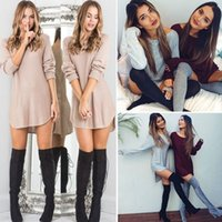 Wholesale New Trendy Clothes - Hot Sales 2016 Brand New Fall Long Sleeve Solid Loose Cozy Mini Casual Dresses O-Neck Pullover Classic Trendy Women Clothing S-XL