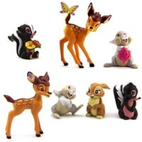 Wholesale Rabbit Topper - New Cartoon Bambi Thumper Flower Playset 7pcs Suit Rabbit Cute Figure Cake Topper Toy Doll Set