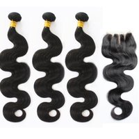 Wholesale Mixed Peruvian - Wholesale Unprocessed Brazilian Hair With Lace Closure 4x4 Peruvian Malaysian Indian Hair Extension Human Hair Weave Body Wave With Closure