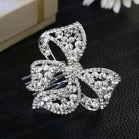 Wholesale butterfly hair comb wedding online - Luxury Crystal Bowknot Bridal Hair Comb Shinny Rhinestone Butterfly Floral Wedding Prom Party Hair Jewelry Accessory Headpiece