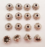 Wholesale End Cap Beads 6mm - Stock clear DIY 017# 6mm model tower Vintage Tibet silver Floral End safe Alloy spacer Beads Caps jewelry accessories 120pcs lots