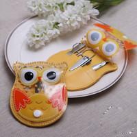 bebek tırnak makası toptan satış-Sevimli Baykuş Manikür Seti Tırnak Sanat Araçları 4 Adet / takım Tırnak Makas Dosya Clipper Cımbız Düğün Bebek Favor