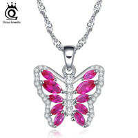Wholesale Zircon Pendant Necklace - ORSA New Arrival Love Fly Symbol 925 Sterling Silver Butterfly Necklace with Austrian Cubic Zircon ON86