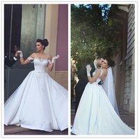 Wholesale Model Novias - Vestidos de Novias Said Mhamad Vintage Wedding Dresses White Off Shoulder Cap Sleeve A Line Satin Wedding Dress Formal Bridal Gowns Marriage