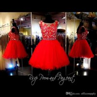 Wholesale Gorgeous Prom Dresses For Cheap - New Red Short Homecoming Dresses 2017 Cheap Gorgeous Crystal Lace Knee Length 8th Grade Graduation For Prom Party Girls BA3649 Under 100