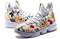 Wholesale Heal Up - 2017 Hot sale with Zipper James 15 Basketball Shoes for High quality LBJ 15s Wolf Grey Flowers Airs Cushion Sports Sneakers Size 40-46
