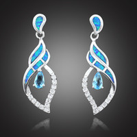 Wholesale Blue Opal Studs - HAIMIS Wholesale Retail Synthetic Blue Fire Opal Blue Stone CZ Women Fashion Jewelry Silver Plated Opal Stud Earrings OE216