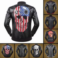 Wholesale Mens Leather Top Coat - 2017 New fashion Men's Outerwear & Coats top quality leahter men jacket with skull print famous brand winter mens leather coat