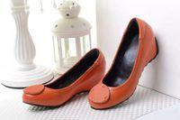 Wholesale Orange Wedge High Heels - Hot Selling Fashion Brand Orange Genuine Leather Wedge Slip On High Heel Dress Pumps Wedges Lady Women Shoes Sz 35-41