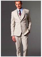 Wholesale Corduroy Jacket British - Hot Sale (Jacket+Pant+Vest+Tie+Handkerchief) 5 Piece Retro British Men Wedding Tuxedo Khaki Groom Men's Wedding Prom Suits