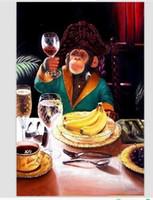 ingrosso vernici personalizzati-Bella scimmia consumo di vino Artigianato Animail Arts dipinto ad olio su tela di canapa di qualità alta per la decorazione domestica parete in formati personalizzati