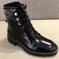 Wholesale Round Metal Rivets - patent leather low heels round toe lace up boots superstar luxury punk rock metal rivets fasteners ankle boots