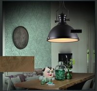Wholesale Large Ceiling Lamp Industrial - Industrial Pendant light Retro American Large Rough Black Metal Shade Ceiling LED Pendant Lamp for Home Lighting