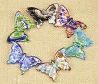 kelebek zanaat gümüşü toptan satış-2016 Cam Kolye Kolye Gümüş Folyo Murano Cam Takı Kelebek Şekilli Lampwork Sır Kolye Fit DIY Craft Takı