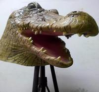 Wholesale Crocodile Halloween Mask - Wholesale-Wholesale10pcs lot Crocodile Mask Creepy Animal Halloween Costume Theater Prop Novelty Latex Rubber