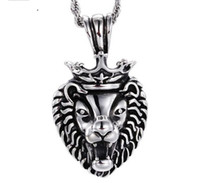 Wholesale Large Crown Necklace - Fashion Casting Vintage Large Silver Stainless steel Biker crown Lion Head Pendants Necklace Men's Cool Jewelry Gift
