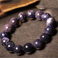 Wholesale Blue Sandstone - Korean Version of The Sky Blue Sandstone Couple Single Lap Bracelet Simple Wild Stars Crystal Jewelry
