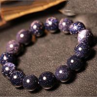pulsera de piedra arenisca azul al por mayor-Versión coreana de The Sky Blue Sandstone Pareja Single Lap Pulsera Simple Wild Stars Crystal Jewelry