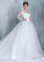 Ball Gown Wedding Dress for sale - New!Luxurious Tulle Sweetheart Neckline Ball Gown Wedding Dress Aplliqued Beading 3D flowers Sweep Train Bridal Dresses