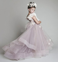 Wholesale Cheap Handmade Dresses - New Lovely New Blush Pink Tulle Ruffled Handmade Flowers One-shoulder Vinatage Wedding Flower Girls' Dresses Girl's Pageant Dress 2017 Cheap